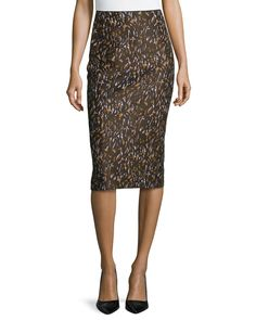 Priscilla Printed Pencil Skirt, Masala Multi