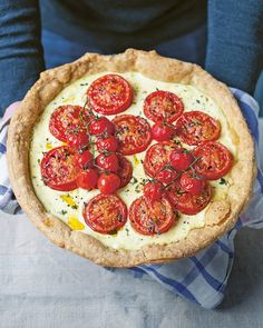 A beautifully short, buttery pastry shell is filled with mustard-spiked crème fraîche and topped with roasted tomatoes in this summer tart recipe. Tart Recipes, Sweet Recipes, Cooking Recipes, Quiche Recipes, Veggie Recipes, Vegetarian Recipes, Savory Tart, Savoury Pies, Pastry Shells