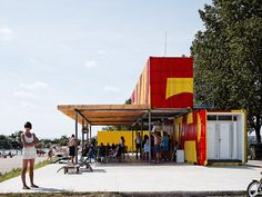 5KA project, shipping containers in a beach in Slovakia, designed by Gut Gut