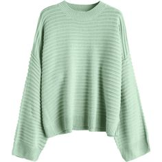 Drop Shoulder Plain Sweater Light Green ($27) ❤ liked on Polyvore featuring tops, sweaters, light green sweater, drop shoulder sweater, green sweater, green top and drop-shoulder tops