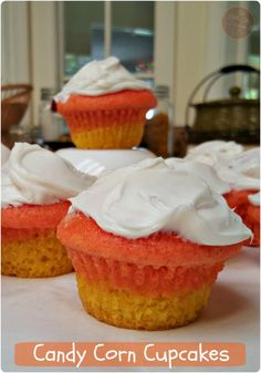 These yummy Candy Corn Cupcakes are sure to be a hit for all your little or big monsters. Double up the batch and take some into work, or send to school with the kids. Happy Halloween smiles will be everywhere.