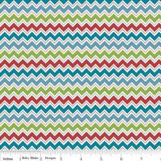 Riley Blake - Hooty Hoot Returns Chevrons Blue - cotton fabric