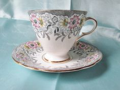 ~ Vintage English Bone China Tea Cup and Saucer, Grey Lace & Pink Flower . Vintage Cups, Vintage Tea, Vintage China, Teapots And Cups, Teacups, Tea And Crumpets, China Tea Sets, Bone China Tea Cups, Cuppa Tea