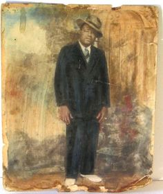 VINTAGE 1930S TO 1950S HAND PAINTED PHOTO BLACK MAN A14
