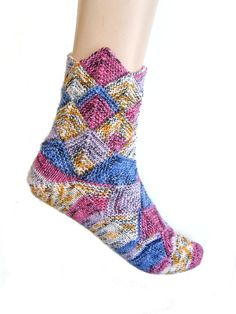 Fairytale socks Blue/White/Pink/Yellow size EU by Carolinevantveer, $23.00