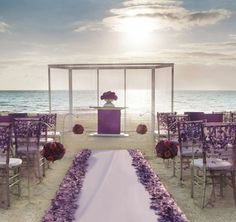this purple beach wedding scene is exquisite and if Prince (Purple Rain) were to do a destination wedding, I could totally see him getting married here. Wedding Scene, Wedding Set Up, Wedding Bells, Dream Wedding, Wedding Ideas, Wedding Stuff, Wedding Inspiration, Wedding Dinner, Fantasy Wedding