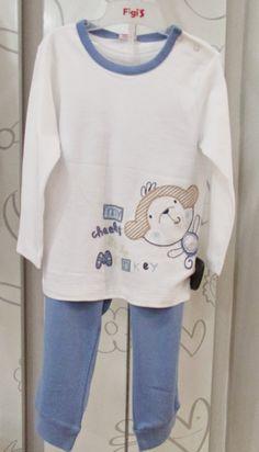 A la camita... Pijama de algodón con monito en aplicación y bordado | Figi's