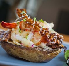 Lobster on Charred Potato with Smoked Bacon & Apple - A great way to liven up a baked potato, with lobster and bacon replacing the usual toppings and apple to give it a refreshing zing! - http://www.fishisthedish.co.uk/recipes/starters-snacks-sides/1416-lobster-on-charred-potato-with-smoked-bacon-and-apple