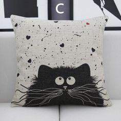 Creative cat decorative pillow for sofa animal linen square cushions