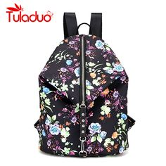8ec172946768 Brand Nylon Backpack Female Flower Print Women Knapsack Ladies Backpack Girl  Student Waterproof School Bag For Laptop Mochilas