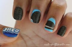 nail-stuff:  Milk's favorite cookie (Oreo's)! I really like how these turned out!