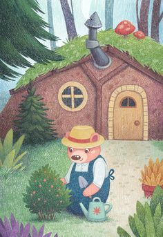 Children's book illustration with the bear gardening near the home for Happy Bears series by Margarita Levina Bear Illustration, Illustration Art Drawing, Children's Book Illustration, Illustration Children, Book Illustrations, Book Background, Background Drawing, Kids Story Books, Childrens Books