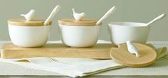Martha Stewart Collection Serveware, Set of 3 Covered Porcelain Bowls with Tray $31.99