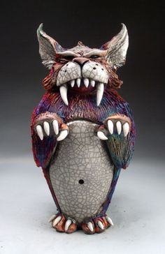 Abominable House Cat raku pottery sculpture by face jug maker Grafton