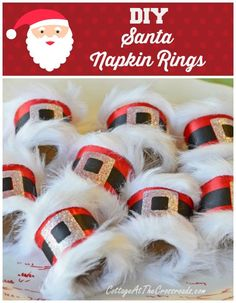 Cute idea for a Christmas table (or party) DIY Santa Napkin Rings Christmas Friends, Noel Christmas, Winter Christmas, Handmade Christmas, Christmas Ornaments, Christmas Projects, Holiday Crafts, Holiday Fun, Santa Crafts