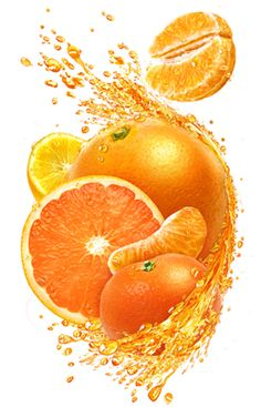 Photo realistic fruit illustrations - Illustrations of fruits in juice splash for packaging use