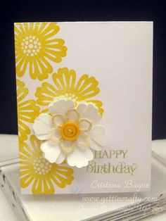 Stamp and paper flower on birthday card