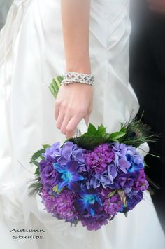 PERFECT to add one of Daddy's bandanas around for bouquet. hydrangea wedding bouquet...I love my purple!