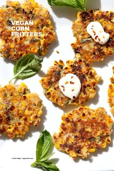 Basil Jalapeno Corn Fritters. Easy Gluten-free Vegan Corn Fritters with…