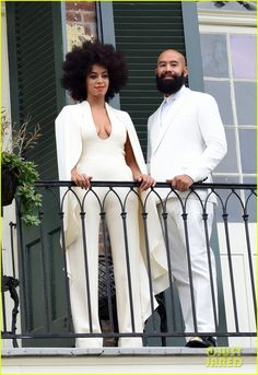Solange Knowles Wears A White Pantsuit On Her Wedding Day While Posing With Fiance Alan Ferguson On A Balcony Just Before The Wedding Winter Maternity Outfits, Classy Winter Outfits, Celebrity Wedding Dresses, Celebrity Weddings, Celebrity Couples, Wedding Show, Wedding Pics, Wedding Things, Wedding Bells