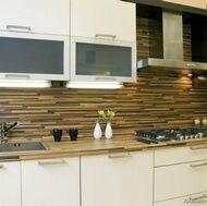 Modern White Kitchen Backsplash kitchen idea of the day: modern white kitchen with wood floors