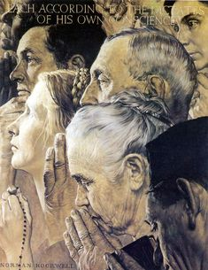 American Chronicles: The Art of Norman Rockwell: Freedom to Worship, 1943 Peintures Norman Rockwell, Norman Rockwell Art, Norman Rockwell Paintings, Norman Rockwell Four Freedoms, Retro, Freedom Of Religion, Freedom Art, Art Graphique, American Artists