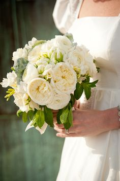 White Bouquet: English Garden Roses, Vitality Garden Roses, White Freesia, White & Green Parrot Tulips, Dusty Miller and Mint. - Bouquet - Flowers