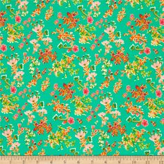 Designed by Katy Jones for Art Gallery Fabrics, this lightweight stretch cotton jersey knit is perfect for making t-shirts, loungewear, leggings, children's apparel, knit dresses and more! It features a soft hand and about a 50% four way stretch for added comfort and ease. Colors include pink, orange, green and gpld on a turquoise green background.
