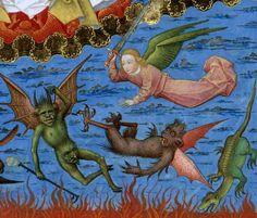 Bibliothèque nationale de France, Français 308, detail of f. 13 (falling angels). Vincent of Beauvais, Speculum historiale. Bruges, c. 1455