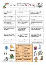 his worksheet contains 18 conversation cards and an interview box with shopping words (and some pictures). The cards can be cut out if desired and be used as. English Language Learners, Education English, English Vocabulary, Teaching English, German Language, Japanese Language, Teaching Spanish, Spanish Language, French Language