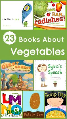 """""""V is for Vegetable."""" 23 books about vegetables. Great, use these books to get my little interested in veggies."""