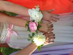 Wrist corsages... peonies!