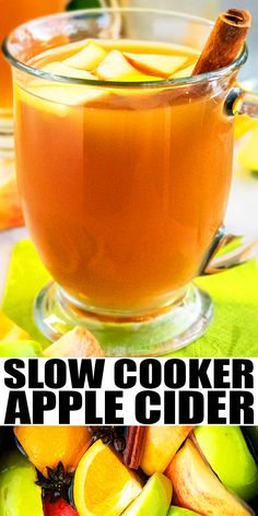 """SLOW COOKER APPLE CIDER RECIPE- The best, easy homemade apple cider from scratch, homemade with simple ingredients. Packed with warm spices and a hint of citrus. It can be served hot or cold. Can also add alcohol. Great for Winter and Thanksgiving parties. Also known as """"Mulled Cider."""" From CakeWhiz.com #cider #apples #fall #thanksgiving #slowcooker #crockpot"""