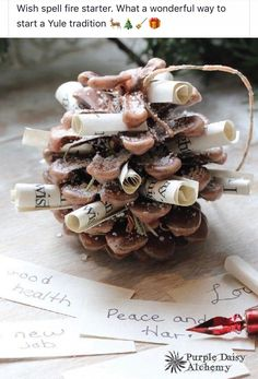 Yule wishing cone - Fire-starter, Charmed Pine Cone, Yule Wish Magick, Fireplace Candle Yule Crafts, Holiday Crafts, Kwanzaa, Boxing Day, Yule Traditions, Winter Solstice Traditions, Objet Harry Potter, Yule Celebration, Pagan Yule