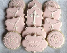 Elegant Pastel Pink God Bless And Gold Cross by thesweetesttiers
