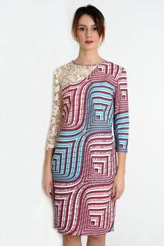 f4282298586 Elegant spring summer 3D lace short shift dress with three-quarter sleeves