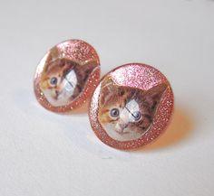 Cute Glittery Pink Kitten Earrings  Sparkly by TheGlitorisShop, $17.00