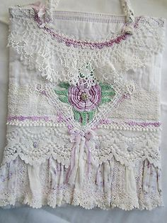 S-P-Petite-Rice-Bag-Lovely-Vintage-Raised-Irish-Lavender-Rose-HM-Handles