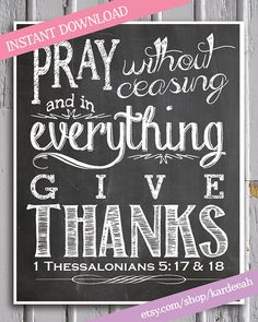 Thanksgiving Chalkboard Bible Verse Printable // 1 by kardeeah, $5.00