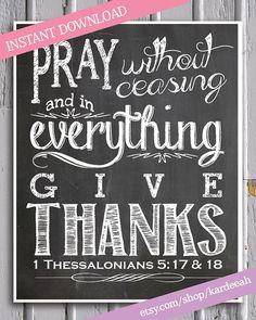 Thanksgiving Chalkboard Bible Verse Printable // 1 by kardeeah, $5.00