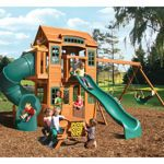 Cedar Summit Weston Lodge Deluxe Playset - $1499 2 lookout decks w telescope, rockwall, 2 swings, 1 acrobatic swing, closed slide, wave slide, picnic bench, large upper and lower decks