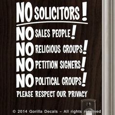NO SOLICITING SIGN Decal Sticker Solicitors Trespassing Privacy WHITE BLACK  PINK