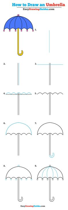 Learn How to Draw an Umbrella: Easy Step-by-Step Drawing Tutorial for Kids and Beginners. #Umbrella #drawingtutorial #easydrawing See the full tutorial at https://easydrawingguides.com/how-to-draw-umbrella-really-easy-drawing-tutorial/.