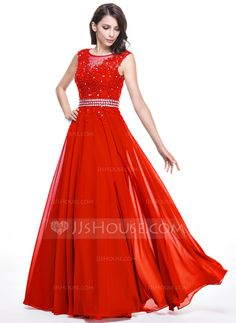 [US$ 149.99] A-Line/Princess Scoop Neck Floor-Length Chiffon Evening Dress With Beading Appliques Lace Sequins