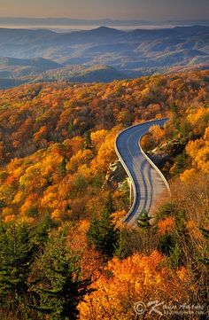 Autumn view of Linn Cove Viaduct on the Blue Ridge Parkway, North Carolina. The viaduct skirts the eastern flank of Grandfather Mountain and passes over the Tanawha Trail, a popular hiking path that is part of the Mountains To Sea Trail. Blue Ridge Parkway, Blue Ridge Mountains, Nc Mountains, Montagnes Blue Ridge, Places To Travel, Places To See, Beautiful World, Beautiful Places, All Nature