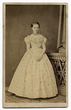 Young girl (possibly a debutante) in a ball gown, c. 1850s-60s.