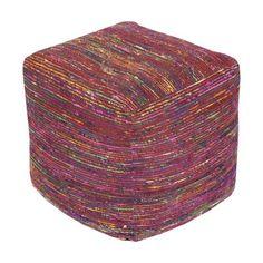 Surya Boho Cube Pouf