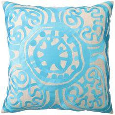 Trina Turk aqua linen pillow