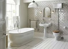 TOP 10 Stylish Bathroom Design Ideas One of the most stunning bathrooms with a large bath tub, a basin with a full length pedestal and a close compact toilet with soft close seat Bad Inspiration, Bathroom Inspiration, Bathroom Ideas, Mirror Bathroom, Bathroom Designs, White Bathroom, Bathroom Renovations, Classic Bathroom, Wall Mirrors