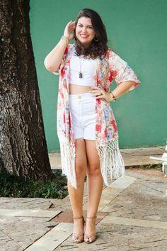 MaGGníficas: Look Plus Size: Cropped, Shorts e Quimono!